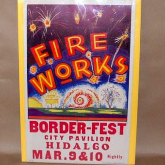Border-Fest Hidalgo Texas Poster Litho-litho art fire works poster, fireworks poster, colorcraft litho, hidalgo texas