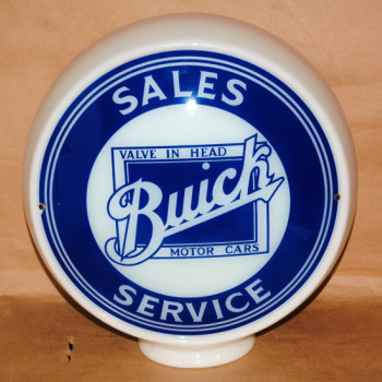 Buick Sales Service Sign Globe-buick sales service sign globe milk glass advertising