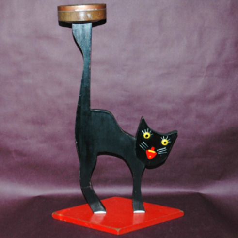 Folk Art Cat Ashtray Caddy-folk art cat ashtray