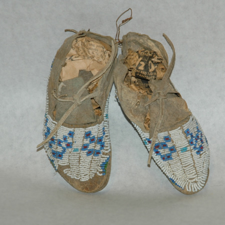 Plains Indian Beaded Child's Moccasin-indian moccasins, plains indian, deerskin mocs, mocs, seed beads