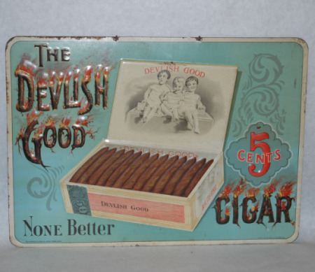 Devilish Good Cigar Tin Advertisement-Tobaccianna, cigar advertising, devilish good cigar, antique advertising
