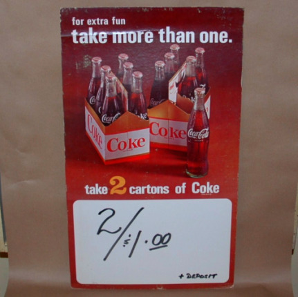 "Coke Advertising ""take 2 cartons of Coke""-coke advertising, coke ad, coke store display,"