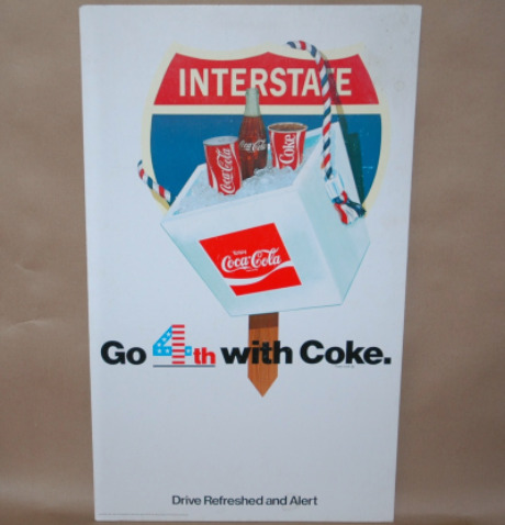 Coca-Cola July 4th Store Display Advertisment Sign-coke cardboard sign, coke advertising sign, july 4th coke sign