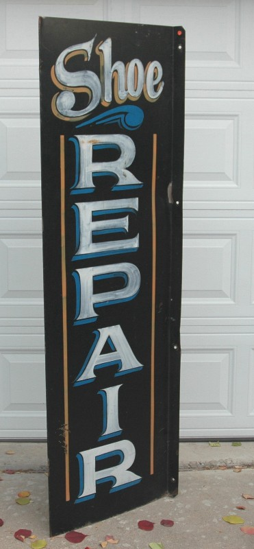 "Metal Hand Painted Sign for ""Shoe Repair""-advertising, handpainted sign, shoe repair,"