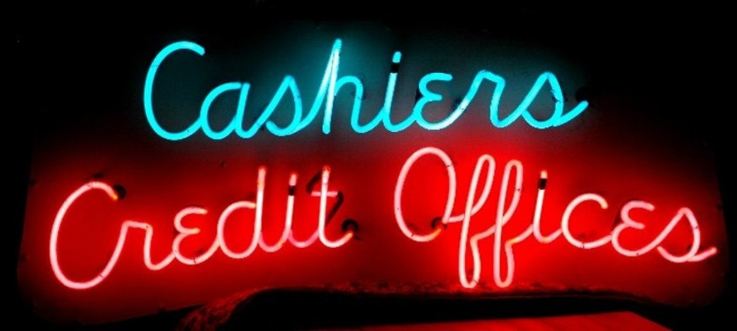 Neon Sign Cashiers Credit Offices-