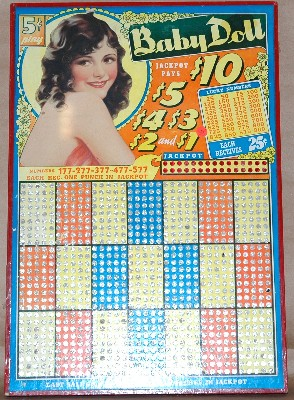Baby Doll Punch Board-Pin up punch board gambling board