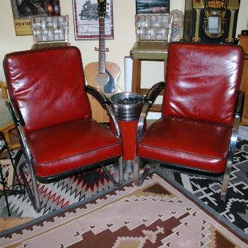 Art Deco Chrome & Vinyl Chairs-Art deco style chairs