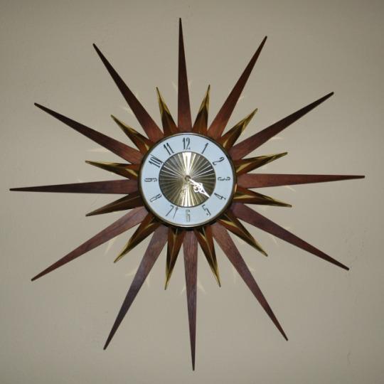 Elgin Starburst Clock-mcm, MCM, Elgin Starburst clock, elgin starburst, retro clock,