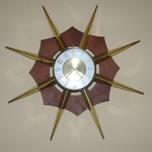 GE General Electric Starburst Clock-GE General Electric retro clock mid-century modern starburst clock
