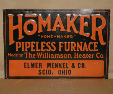 HoMAKER Furnace Tin Sign Scio, Ohio-homaker pipeless furnace scio ohio litho advertising