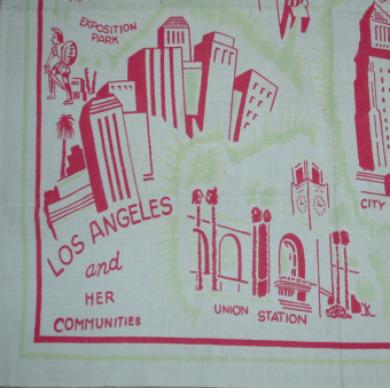 Vintage Retro Los Angeles Tablecloth-Los angeles tablecloth, vintage tablecloth, kitchen collectible los angeles
