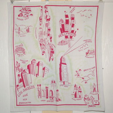Vintage Retro Los Angeles Tablecloth-Los angeles tablecloth, vintage tablecloth, kitchen collectible los angeles