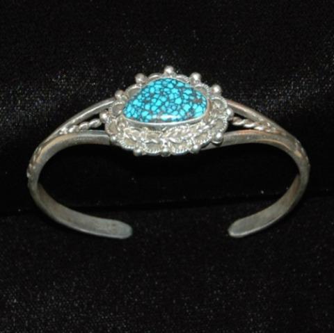 Old Landers Turquoise Sterling Silver Bracelet-old landers blue turquoise, landers blue turquoise