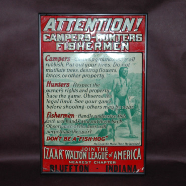 Izaak Walton League of America Sign-izaak walton league tin sign