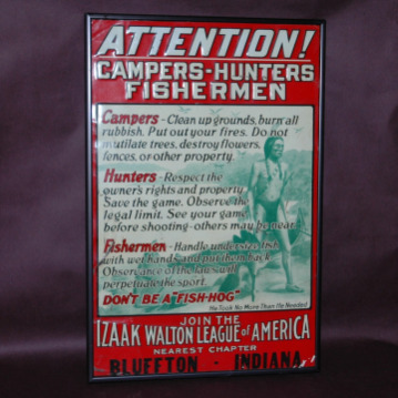 Izaak Walton League of America Sign-izaak walton league tin sign